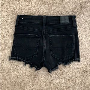 American Eagle Outfitters Shorts - Black jean shorts with rips in front